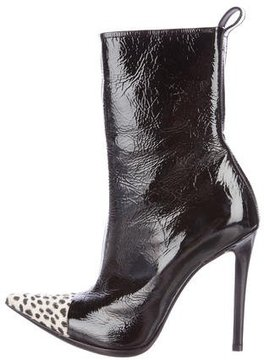 Haider Ackermann Patent Leather Cap-Toe Ankle Boots