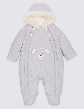 Marks and Spencer Faux Fur Bear Snowsuit with StormwearTM