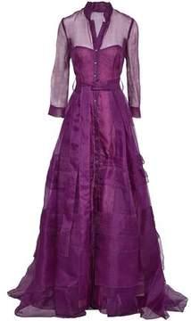 Carolina Herrera Flared Belted Silk-Organza Gown