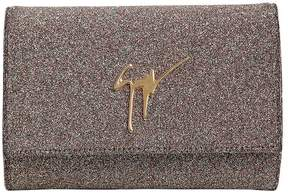Glitter Fabric Clutch W/ Logo Detail