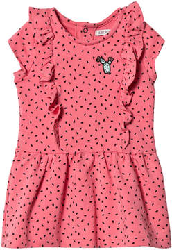 Ikks Pink Watermelon Print Frill Dress with Cactus Applique