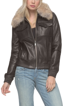 Andrew Marc Emilia Flight Bomber Leather Jacket