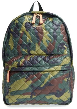 MZ Wallace 'Metro' Quilted Oxford Nylon Backpack - Green