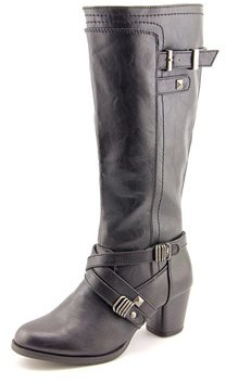 Rialto Claudette Wide Calf Women Round Toe Synthetic Black Knee High Boot.