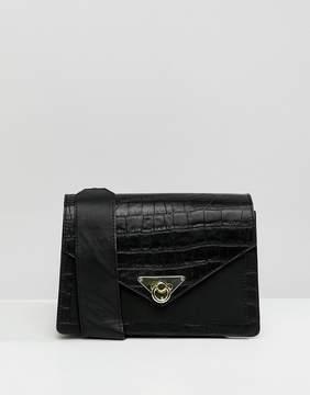 Asos DESIGN croc leather mix shoulder bag