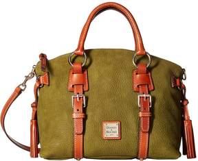 Dooney & Bourke Nubuk Bristol Satchel Satchel Handbags - MOSS W/ TAN TRIM - STYLE