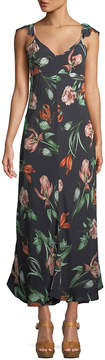Astr Florentina Flutter-Sleeve Floral Maxi Dress
