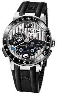 Ulysse Nardin El Toro GMT Silver Dial Platinum Black Rubber Men's Watch