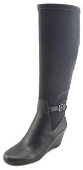 Isaac Mizrahi Krystal Wide Calf Women Round Toe Canvas Blue Knee High Boot.
