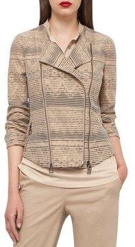 Akris Organza-Stripe Jacquard Moto Jacket, Camel