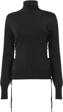 David Koma Mock Neck Lace-up Sweater