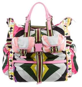 Emilio Pucci Large Printed Nylon Shoulder Bag