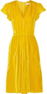 Altuzarra Camilla Faux Pearl-embellished Velvet Dress - Saffron