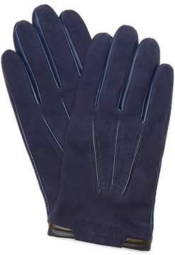 Ted Baker Color-Block Trim Suede Gloves