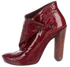 Louis Vuitton Embossed Patent Leather Ankle Boots