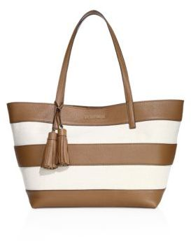 MICHAEL MICHAEL KORS Striped Coated Canvas Large East West Tote