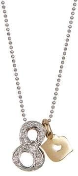 Alex Woo 14K White Gold Little Number '8' Diamond Pendant Necklace - 0.03 ctw