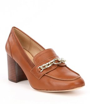 Antonio Melani Kaylena Leather Block Heel Loafer Pumps