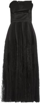 Alexander McQueen Strapless fan-pleated silk dress