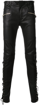 Balmain lace-up leather trousers