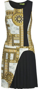 Versace Jeans Pleated Printed Twill Mini Dress