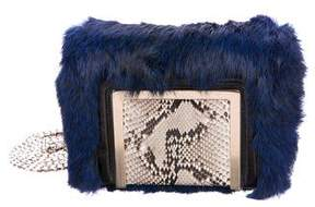 Jimmy Choo Snakeskin-Trimmed Fur Ava Bag