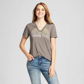 Fifth Sun Women's Feelin' Fine Destructed Graphic T-Shirt Juniors') Charcoal