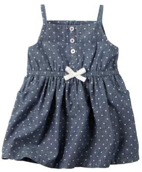 Carter's Baby Clothing Outfit Girls 4th of July Star Print Chambray Dress NB
