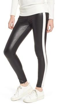 David Lerner Women's Tuxedo Stripe Zip Faux Leather Leggings