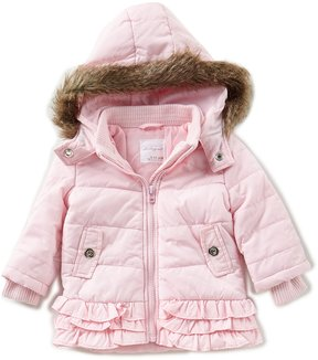 Starting Out Baby Girls 3-24 Months Faux Fur Ruffle-Trim Hooded Coat