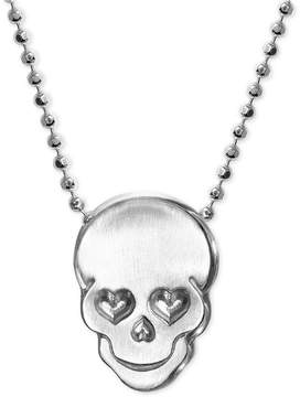 Alex Woo Love Skull Beaded Pendant Necklace in Sterling Silver