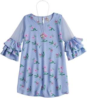 Beautees Girls 7-16 Floral Ruffled Sleeve Shift Dress with Necklace