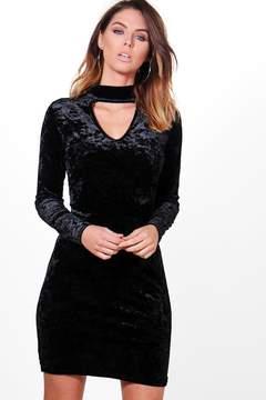 boohoo Niamh Crushed Velvet Choker Dress