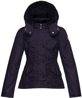 Moncler Ayrolette Hooded Raincoat, Dark Blue, Size 8-14