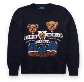 Polo Ralph Lauren Bear Cotton Sweater Hunter Navy Multi L