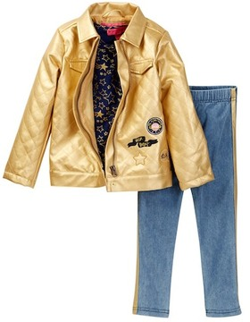Betsey Johnson Star Print Tee, Metallic Jacket & Glitter Legging Set (Little Girls)