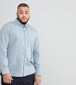 Farah PLUS Steen Slim Fit Textured Oxford Shirt in Gray