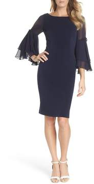 Eliza J Ruffle Sleeve Scuba Shift Dress