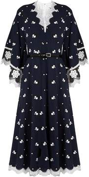 Andrew Gn Floral-embroidered silk and cotton-blend dress