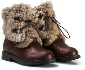 Stuart Weitzman Copper Shimmer Copped Faux Fur Trento Boots
