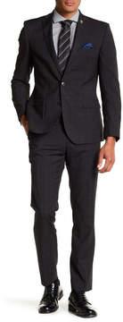 Nick Graham Plaid Two Button Notch Lapel Trim Fit Suit