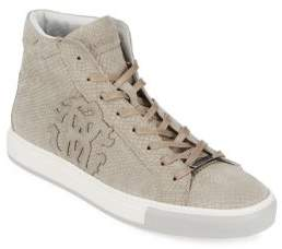 Roberto Cavalli Embossed Leather High-Top Sneakers