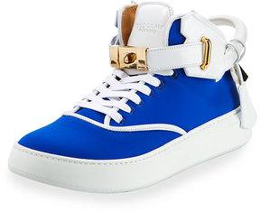 Buscemi Men's 100mm Mid-Top Sneaker, Neon Blue/White