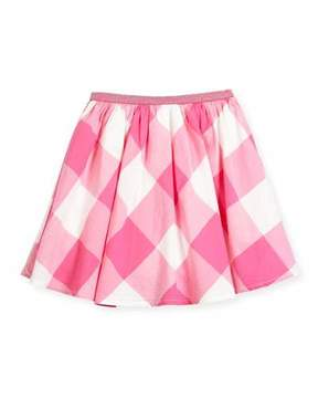 Joules Cotton-Blend Gingham Skirt, Size 3-6