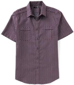 Murano Slim-Fit Chevron Jacquard Short-Sleeve Woven Shirt
