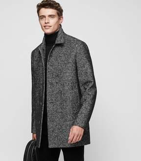 Reiss BELVOUR Wool-blend dogtooth overcoat