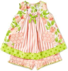 Bonnie Jean Bonnie Baby Baby Girls Newborn-24 Months Mixed-Media Top & Floral-Printed Shorts Set