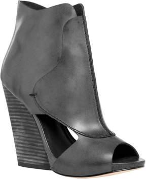 Max Studio eagle : waxed leather high heel wedge peep toe booties