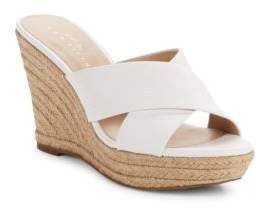 424 Fifth Sadie Leather Crisscross Espadrille Wedge Sandals