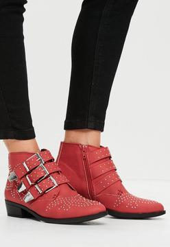 Missguided Red Studded Buckle Ankle Boots